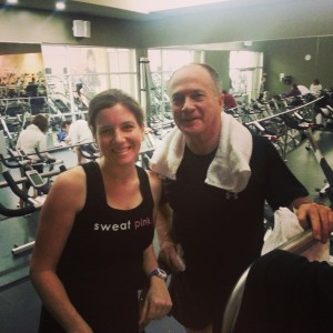 Dad daughter cycling class