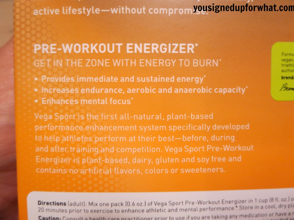 Vega Sport Pre-Workout Energizer instructions