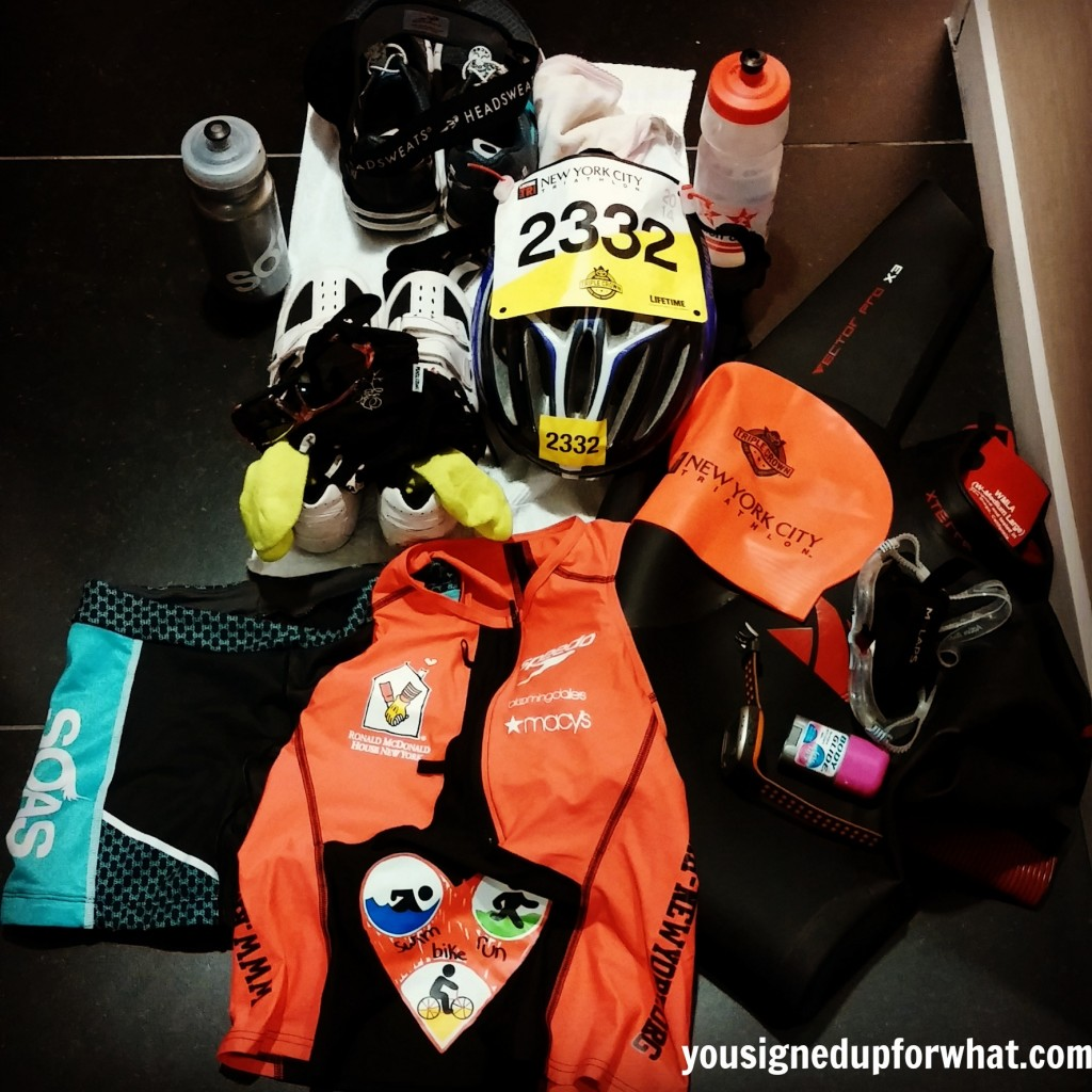 NYC Tri gear laid out