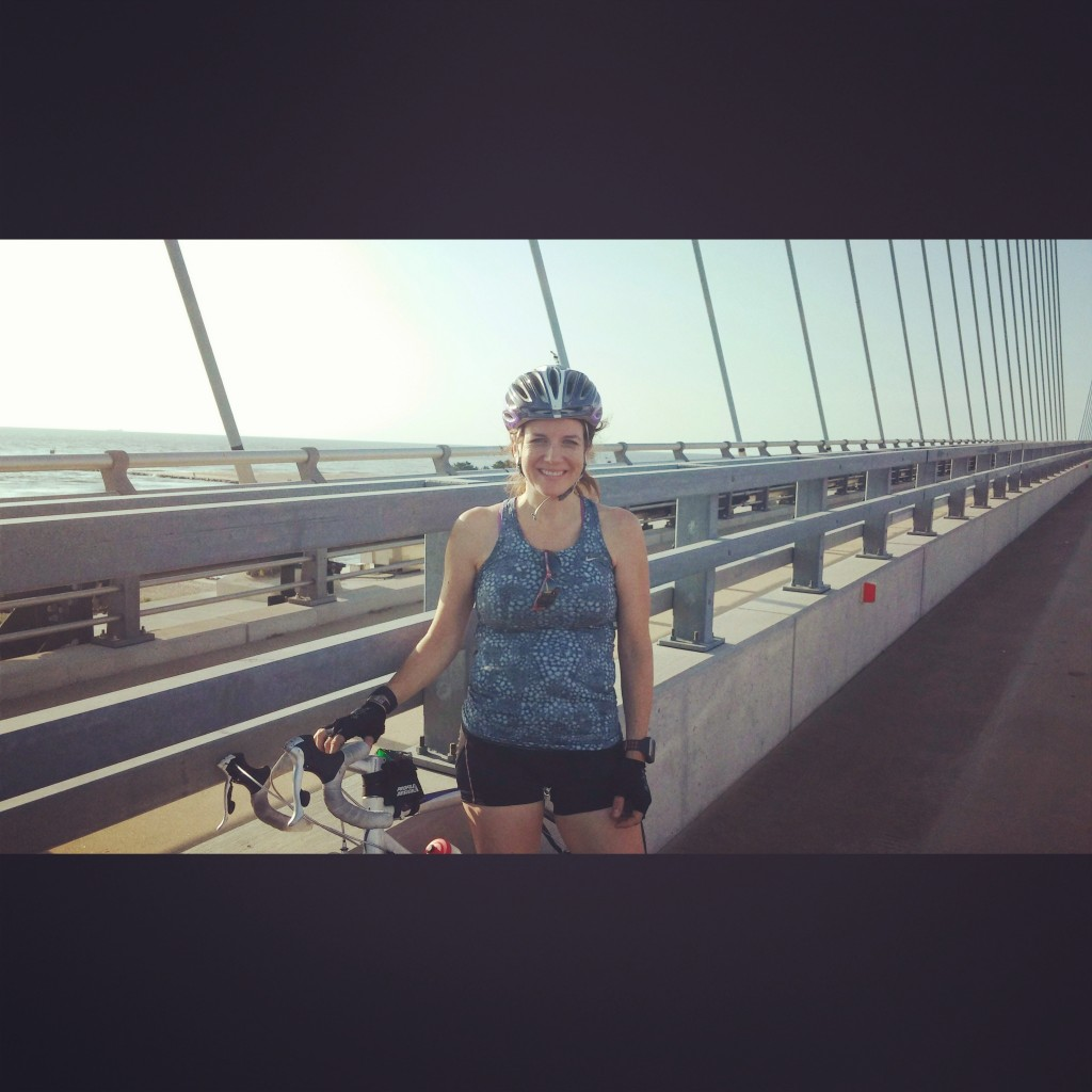 Biking over Indian River Inlet Bridget