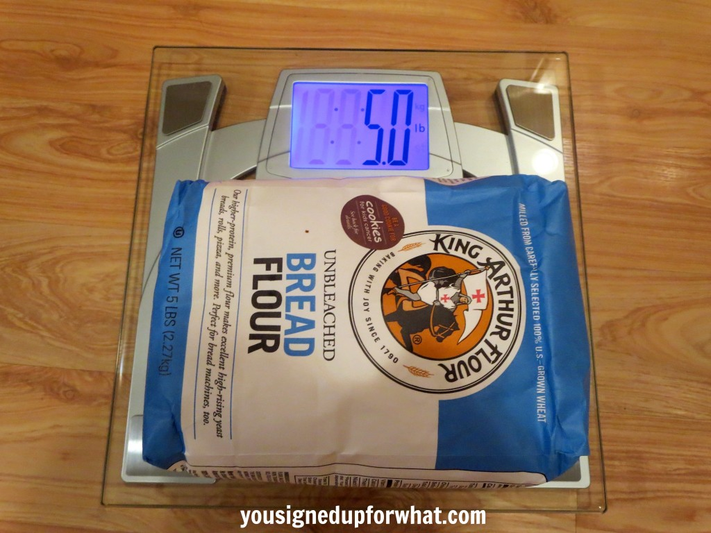 EatSmart scale weighing flour