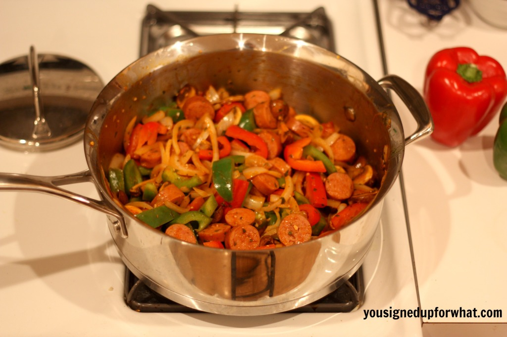 Cooked sausage and peppers