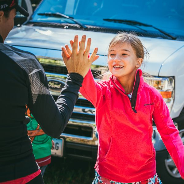 Timex #ONERelay daughter high five